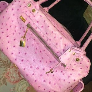 ELAINE TURNER Pink Ostrich Leather Satchel/Handbag